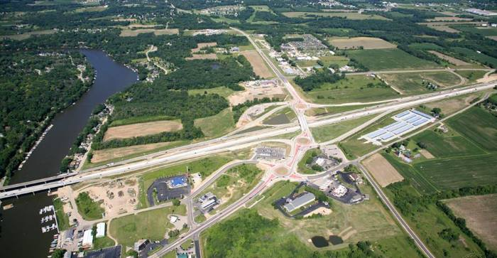 Aerial Photo of Highway Project Completed by Oneida Engineering Solutions